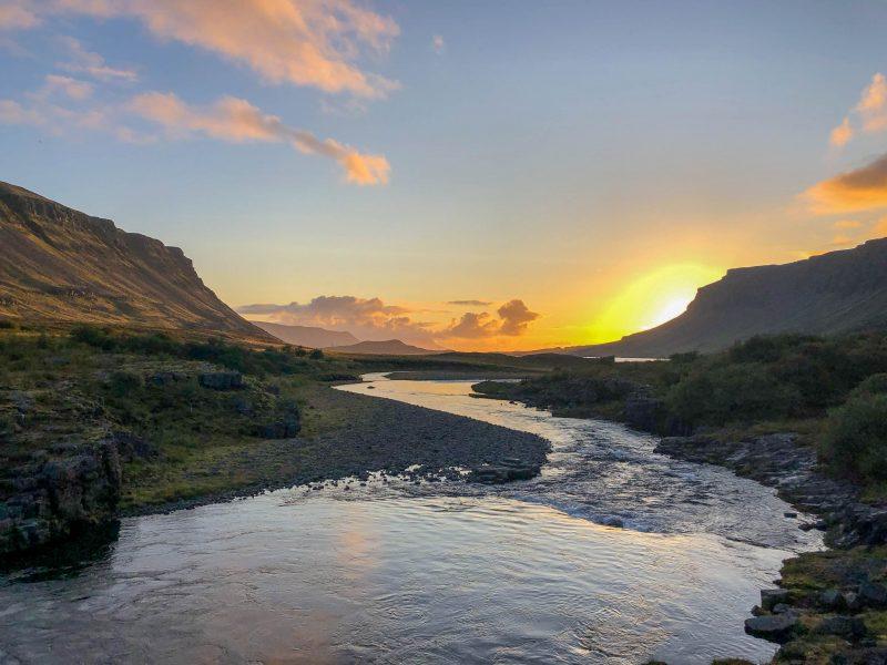 Glymur Waterfall Sunset